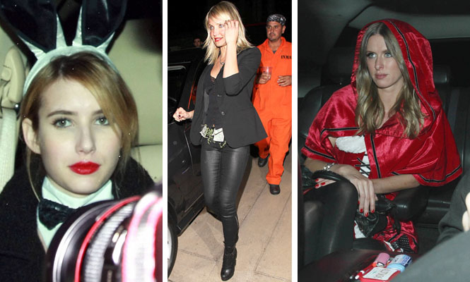 Emma Watson as a Playboy Bunny, Cameron Diaz as a stripper and Nicky Hilton as Little Red Riding Hood