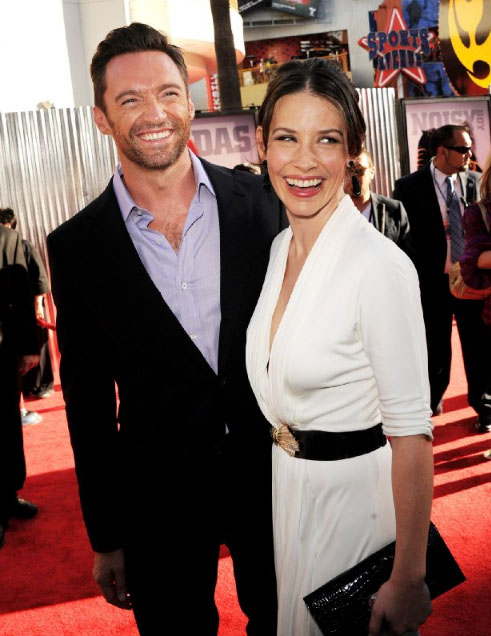 Hugh Jackman and Evangeline Lilly at the premiere