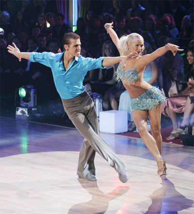 Julianne with her partner Cody Linley on Dancing With The Stars