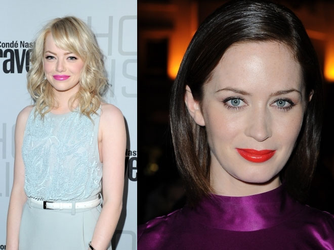 Neon lipsticks worn by Emma Stone and Emily Blunt