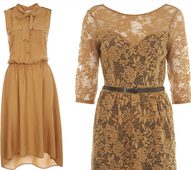 Caramel military dress with gold button detail and a lace belted dress are ideal for accentuated waist look