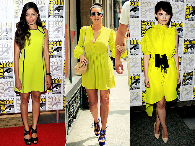 Celebrities Freida Pinto, Kim Kardashian and Ginnifer Goodwin trying a yellow pop color
