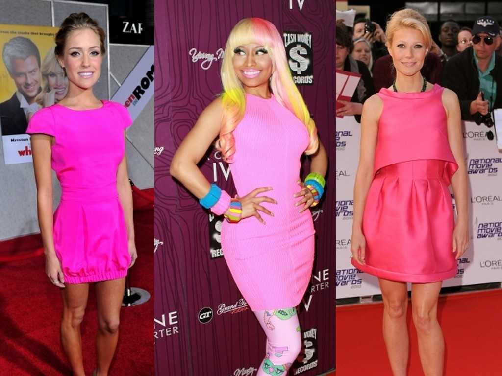Glamour girls Kristin Cavallari, Nicki Minaj and Gwyenth Paltrow look ravishing in neon pink dresses