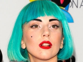 Lady Gaga rocking a trendy neon blue hued bob