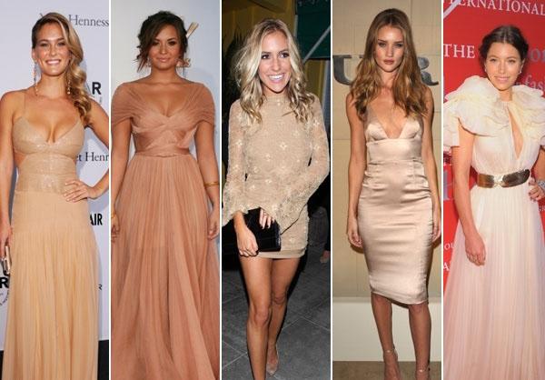 Bar Refaeli, Demi Lovato, Kristin Cavallari, Rosie Huntington-Whiteley, and Jessica Biel showing off various shades of nude dresses