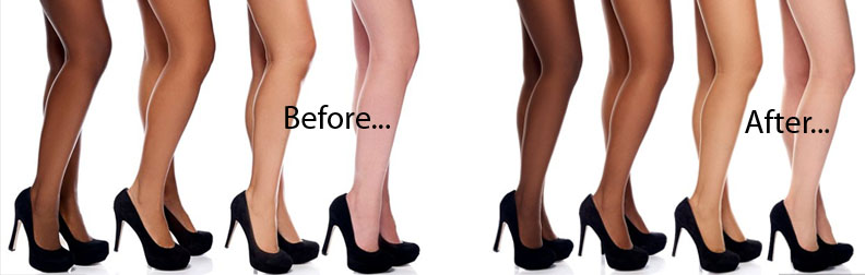 Debenham's invisible pantyhose before and after photos