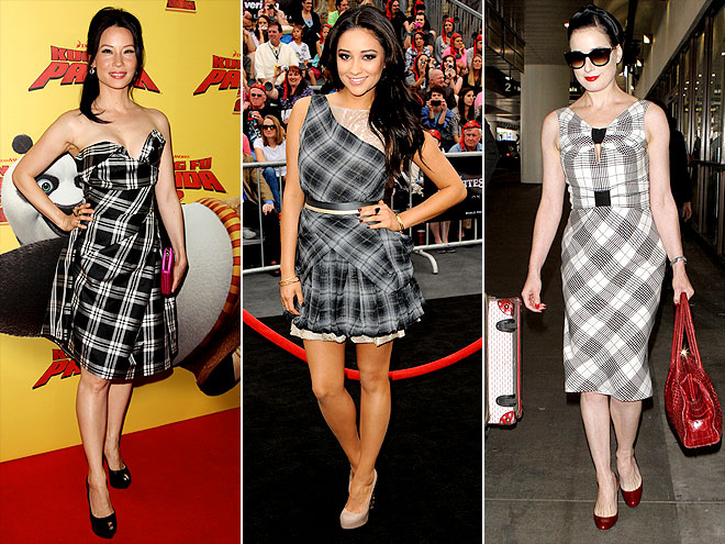 Lucy Liu, Shay Mitchell and Dita Von Teese are dressed in their own versions of the classic print