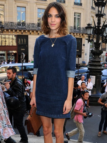 Alexa Chung in denim dress