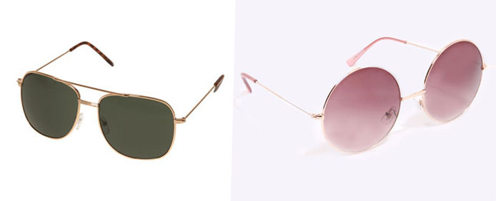Autumn Sunglasses (l-r) - Topshop Gold Metal and Urban Outfitters Oversized Round sunnies