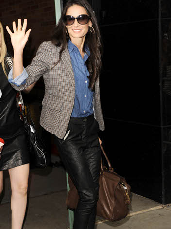 Demi Moore in denim shirt