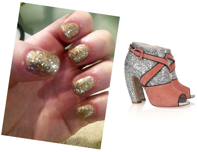 Glitterati Nails for my Miu Miu booties