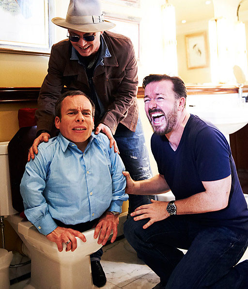 Johnny Depp with Ricky Gervais and a rather stuck Warwick Davis
