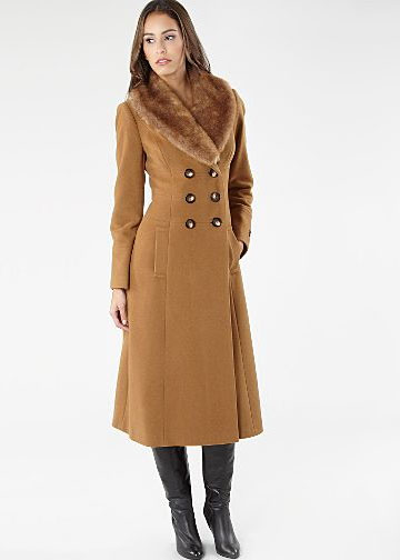 Debenhams Tan detachable faux fur collar coat £127.20