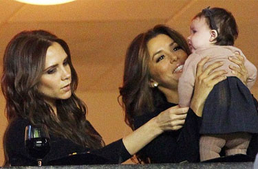 Victoria Beckham and Eva Longoria with Harper Beckham