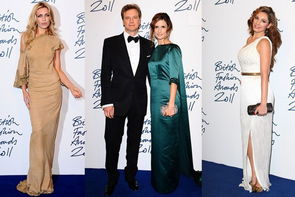 And just because they're not designers, doesn't mean they can't show out! Model Abbey Clancey donned a studded gown,  Colin Firth and his wife Livia, who continued her Green Carpet Challenge in a Henrietta Ludgate gown and beauty model Kelly Brook in a white asymmetric gown.