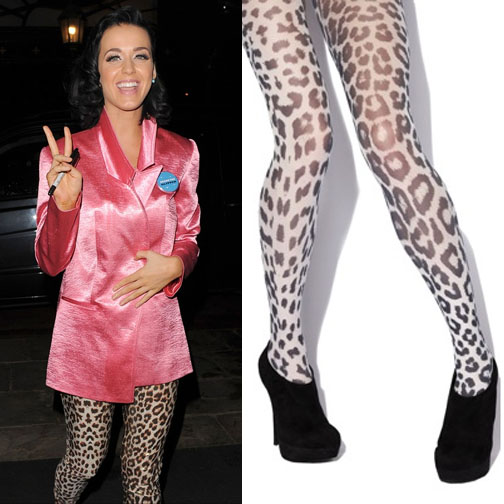 Katy Perry walking on the wild side with leopard print tights