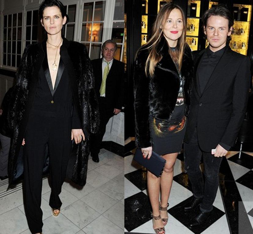 Best model winner Stella Tennant and Christopher Kane winner of the New Establishment award, with sister and business partner Tammy