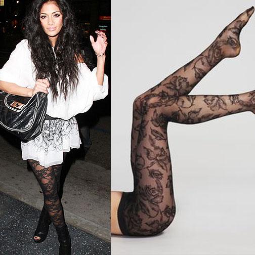 Nicole Scherzinger in fun printed tights