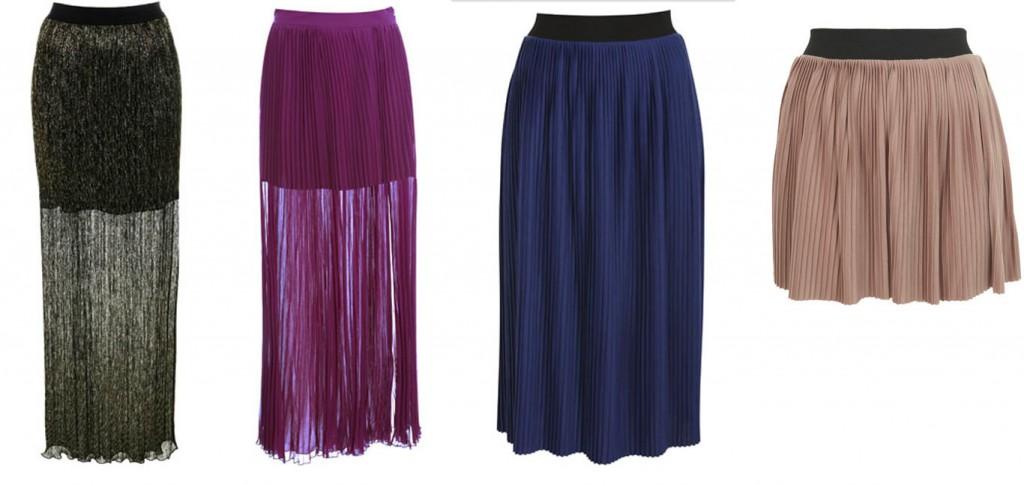 Lurex Pleated Maxi Skirt, Mauve Pleat Split Maxi Skirt, Blue Pleated Midi Skirt and Pleated Mini Skirt all available at Miss Selfridge