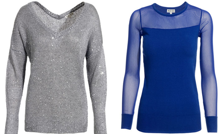 Reiss sweaters add a bit of glamour with this Sequin front jumper (£76) and this sheer sapphire knit for (£71)