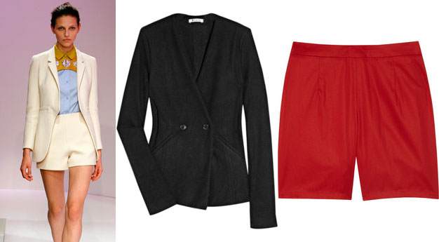 Carven SS12 short suit look and our finds at Net-A-Porter.com, T by Alexander black blazer and A.P.C. shorts