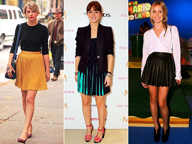 Taylor Swift, Leighton Meester and Kristin Cavalliri joining the pleated skirt trend