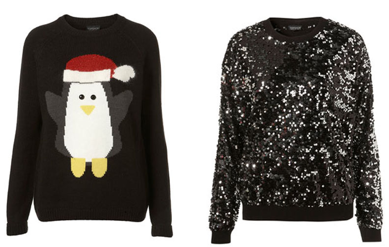 Topshop knitwear finds, Knitted Penguin Jumper (£50.00) and Knitted Sequin Sweater (£70.00)