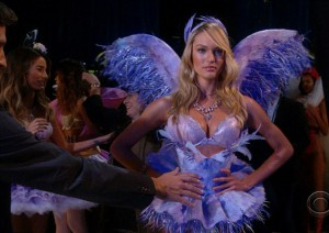 Candice Swanepoel stands in position, ready to strut her stuff before being sent to the catwalk