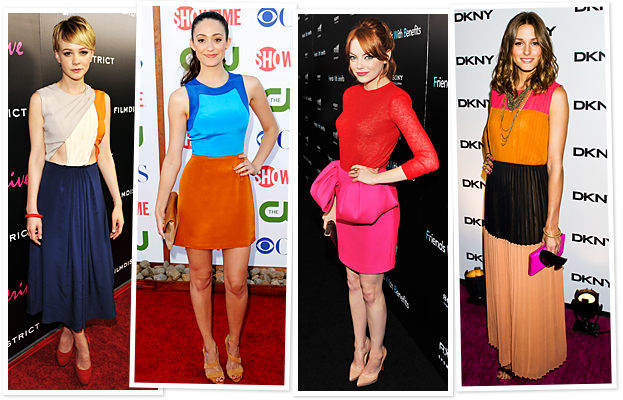 Carey Mulligan, Emmy Rossum, Emma Stone and Olivia Palermo love their colours