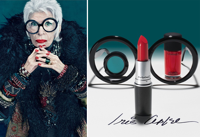 Iris Apfel with her collection for M.A.C.