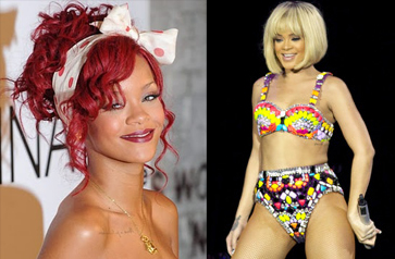 Rihanna's gone from flame red to blonde bob recently