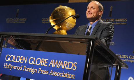 Woody Harrelson presenting the Golden Globe nominations