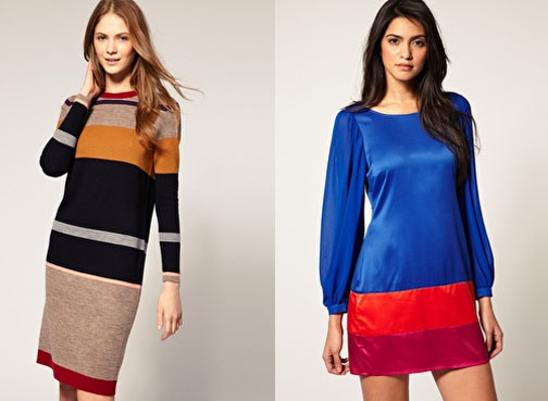 Whistles Sorrelle Wide Stripe Knitted Dress £150.00, and Lipsy Colourblock Shift Dress £41.00