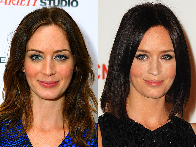 Emily blunt went from a flowing brunette look to a darker cut