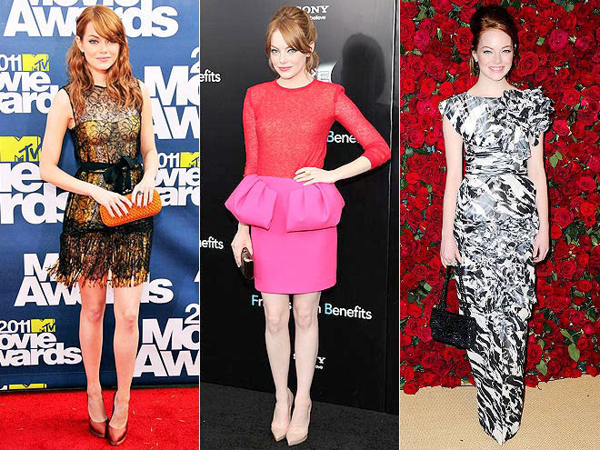 "One of 2011's ""It"" girls, Stone had plenty of time to shine on the red carpet thanks to her two big hits, The Help and Crazy, Stupid, Love. The redhead brought a touch of class to the MTV Movie Awards, sparked a colorblocking trend after wearing a peplum number to her Friends with Benefits premiere and made elegant look easy at an N.Y.C. gala."