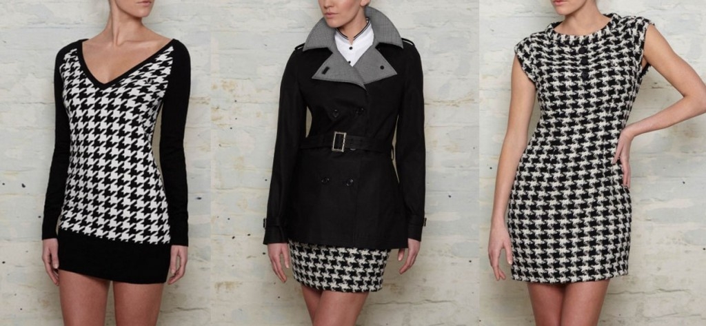 Houndstooth Longline Sweater £95.00, Trench Coat £225.00, and Houndstooth Tie Neck Dress £150.00