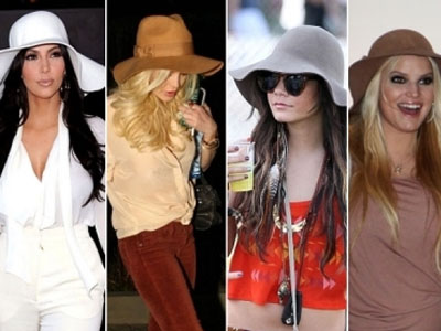 Kim Kardashian, Lindsay Lohan, Vanessa Hudgens and Jessica Simpson love their floppy hats
