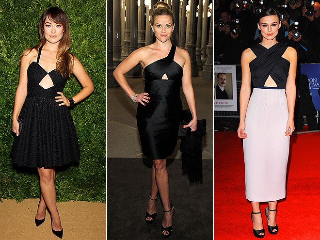 Olivia Wilde, Reese Witherspoon and Keira Knightley trying out keyhole dresses