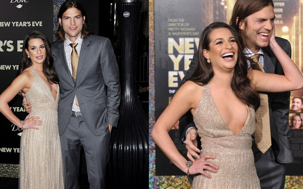 Lea Michele and Ashton Kutcher at the premiere of New Years Eve