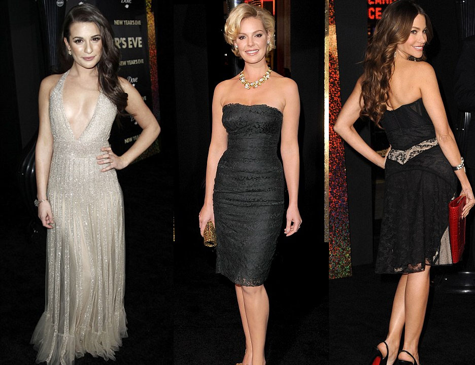 Lea Michele, Katherine Heigl and Sofia Vergara at the premiere of New Years Eve