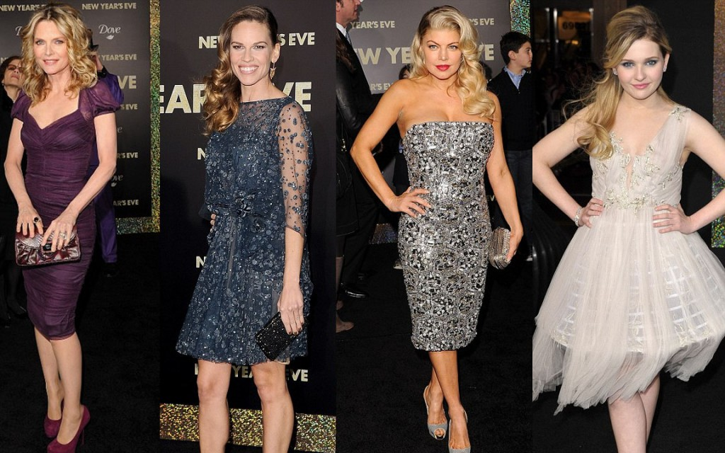 Michelle Pfeiffer, Hilary Swank, Fergie and Abigail Breslin at the premiere of New Years Eve