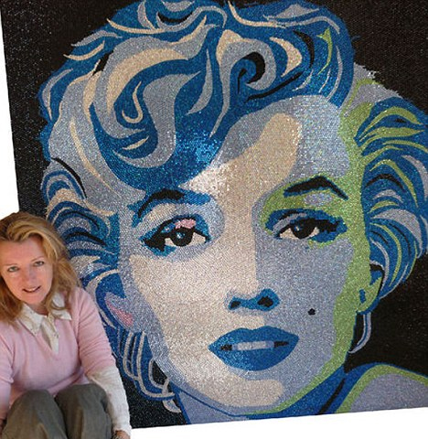 Claire Milner with her Marilyn Monroe portrait