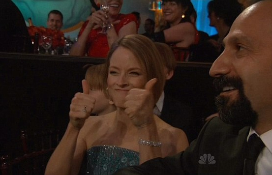 Jodie Foster giving Gervais the thumbs up