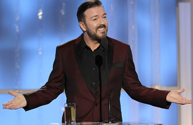Ricky Gervais presenting the Globes