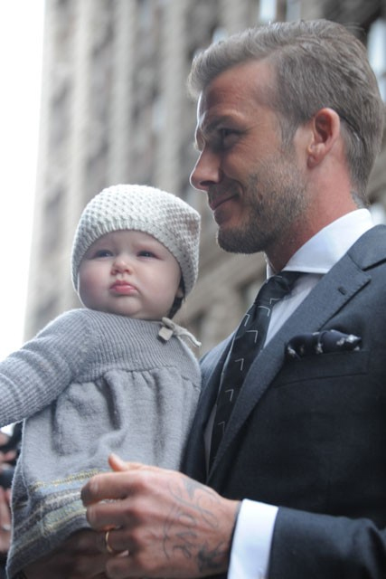 Harper with her famous father David Beckham