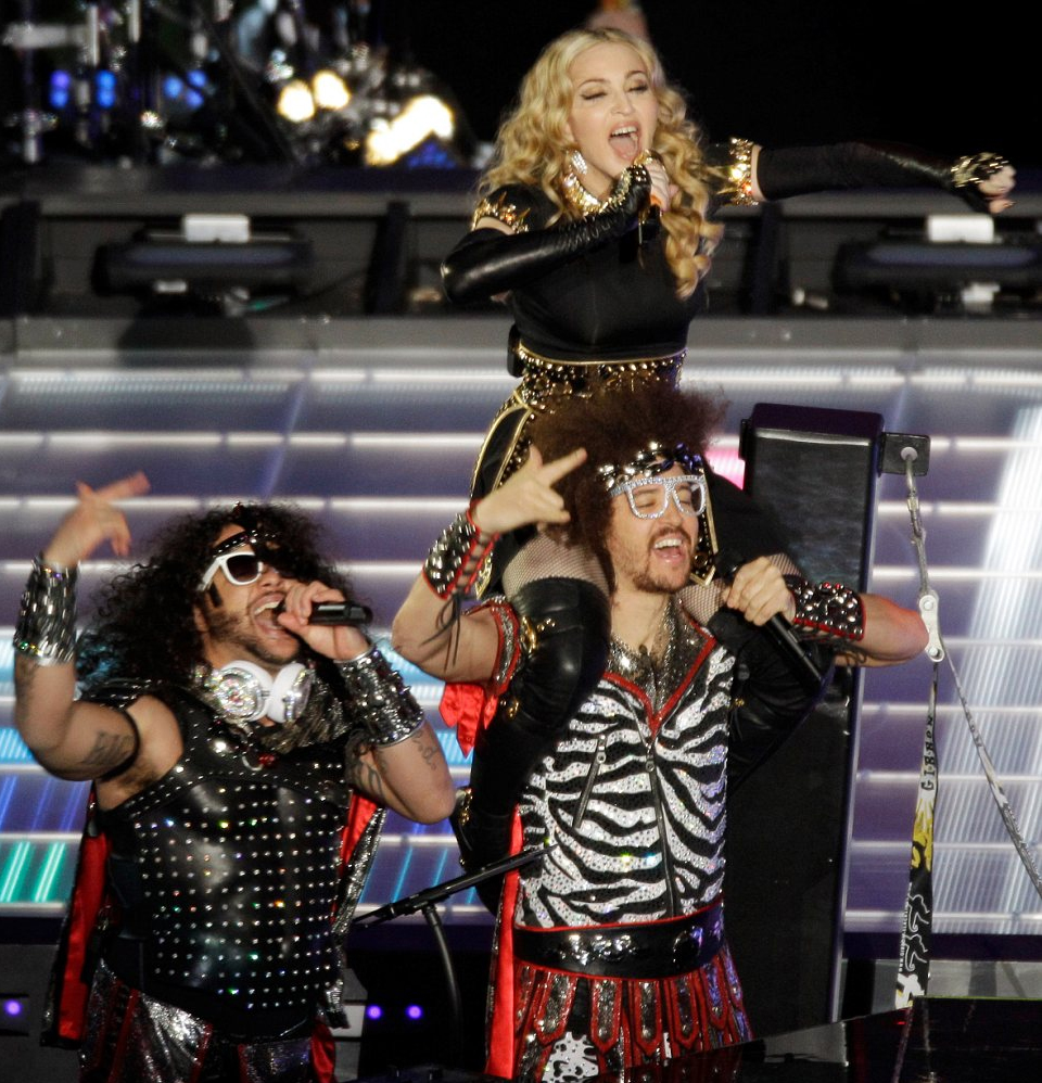 Madonna onstage with LMFAO