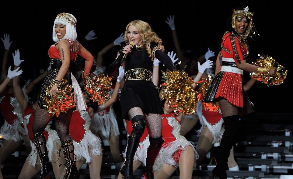 Madonna singing with Nicki Minaj and M.I.A