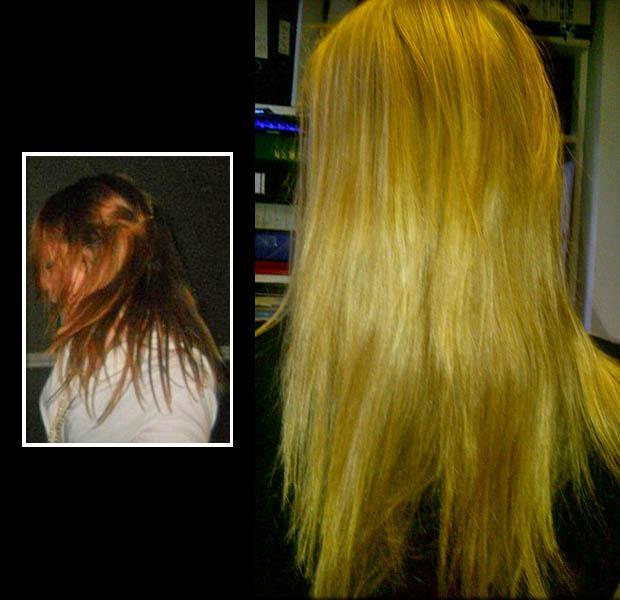 Red to Blonde hair Karine Jackson