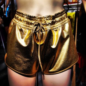 Gold shorts at H&M Sport Pop Up