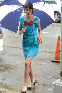 Alexa Chung on the set of Gossip Girl